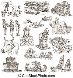 Travel series, VIETNAM, Socialist Republic of Vietnam. Pictures of Life. Collection of an hand drawn illustrations. Pack of full sized hand drawn illustrations, set of freehand sketches. Drawing on white.