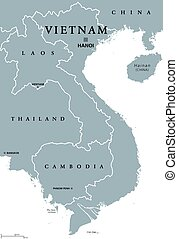 Vietnam political map with capital Hanoi and borders....