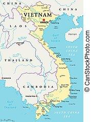 Vietnam Political Map - Vietnam political map with capital...