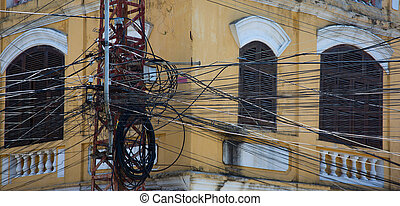 Vietnam power lines - Tangled mess of overhead power lines