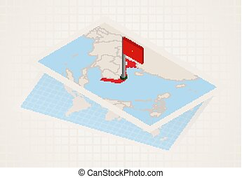 Vietnam selected on map with isometric flag of Vietnam.
