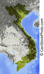 Vietnam, shaded relief map - Vietnam. Shaded relief map....