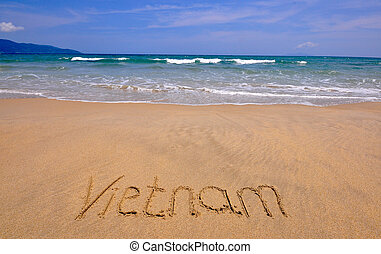 Vietnam sign on the sand beach