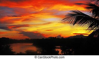 Vietnam sunset landscape timelapse