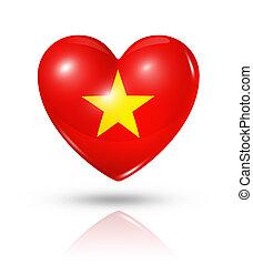 vietnam, szív, lobogó, szeret, ikon
