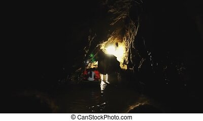 Vietnam, Tam Coc, grotto (cave), also known as Halong Bay in rice fields , is one of the natural wonders of Vietnam. Tam Coc means in translation Three caves . 4K