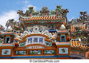 Vietnam temple - Colourful decorated temple in Vietnam