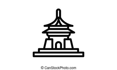 Vietnam temple icon animation outline best object on white background