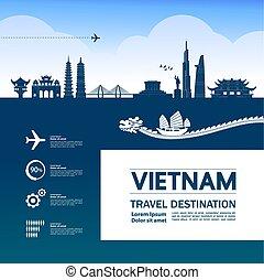 Vietnam travel destination grand vector illustration.