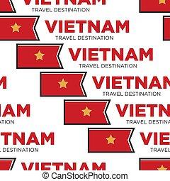 Vietnam travel destination Vietnamese national flag seamless pattern