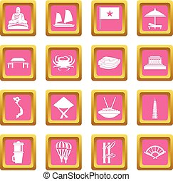 Vietnam travel icons pink