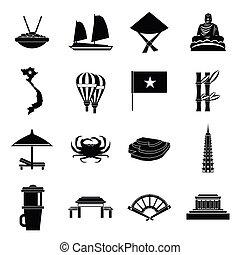 Vietnam travel icons set, simple style