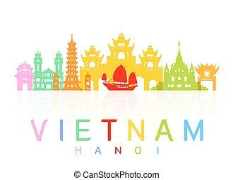 Vietnam Travel Landmarks. Vector and Illustration