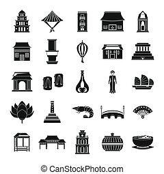 Vietnam travel tourism icons set simple style