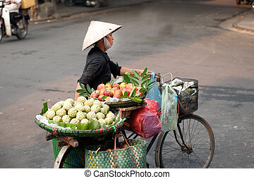 vietnam., typisk, gatuförsäljare, hanoi