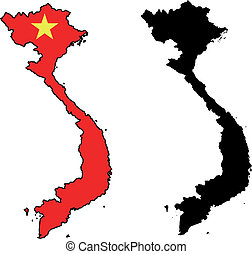 vector map and flag of Vietnam with white background.