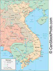 Vietnam - Vector map. Marked geographical and topographical ...