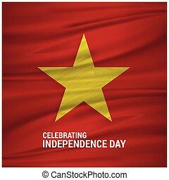 Vietnam Waving Flag Celebtraing Independence Day