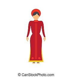 Vietnam woman icon, flat style