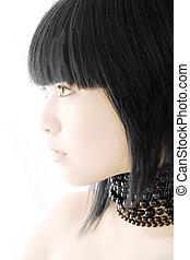 Vietnamese beauty model portrait on white studio background