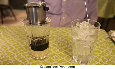 Vietnamese coffee dripping - Traditional way of making...