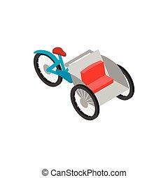 Vietnamese cyclo icon, isometric 3d style