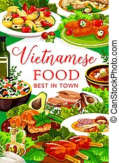 Vietnamese fish and meat with veggies