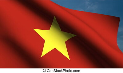 Vietnamese Flag waving in wind with clouds in background