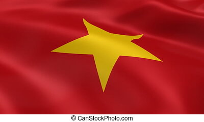 Vietnamese flag in the wind. Part of a series.