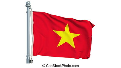 Vietnamese flag waving on white background, animation. 3D...