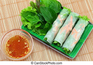 Vietnamese food. - Vietnamese food Fresh Miang, Wrapped in a...