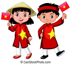 Vietnamese girl and boy in red costume