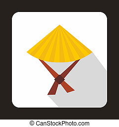 Vietnamese hat icon, flat style