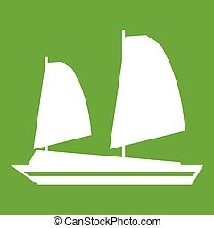 Vietnamese junk boat icon green