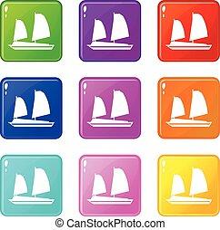 Vietnamese junk boat icons 9 set