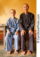 Vietnamese monks in the Phi Lai temple in Ba Chuc, Mekong ...