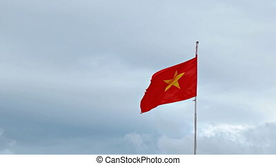 Vietnamese National Flag Flapping on a Cloudy Day. FullHD...