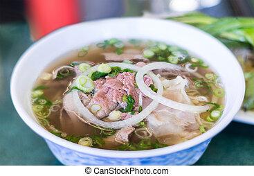 Vietnamese Pho Beef Noodle Soup - Bowl of Vietnamese pho...
