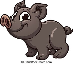 Vietnamese piglet. Vector clip art illustration with simple...
