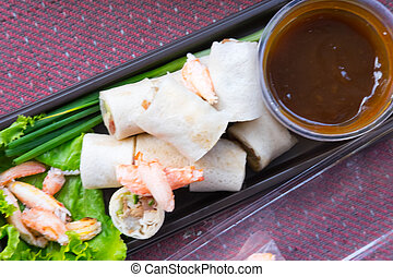Vietnamese pork and crab spring roll with sauce - Asian style food