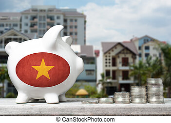 Vietnamese real estate investment concept with piggy bank, stacks of coins and house in the background