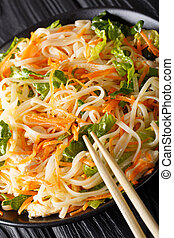Vietnamese spicy salad with chicken, rice noodles, carrots ...