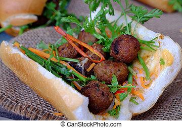 Vietnamese street food, banh mi thit nuong or Vietnam bread...