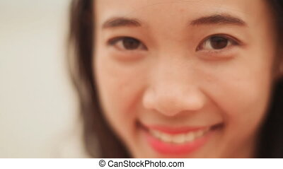 vietnamien, charmer, girl., rire, close-up., figure
