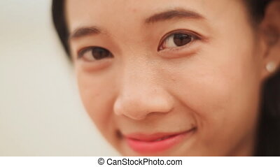 vietnamien, figure, rire., close-up., girl, charmer