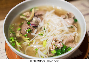 vietnamita, clássicas, sopa noodle, em, a, asiático,...