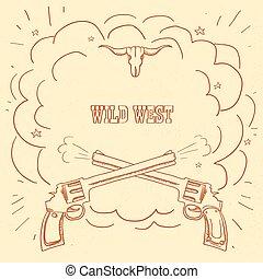 vieux, éclater, ouest, illustration espace, cow-boy, arrière-plan., occidental, texte, sauvage, fusils