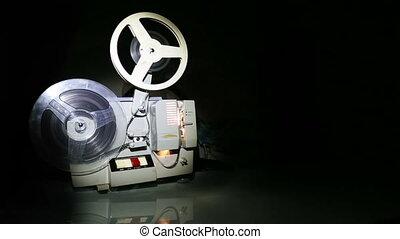vieux, écran projecteur, -, chariot, coup, projection, pellicule