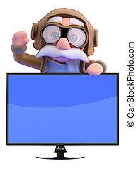 vieux, écran tv, derrière, vagues, pilote, 3d