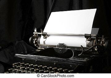vieux, écrivain, papier, feuille blanche, type